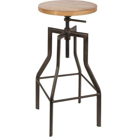 Tabouret de bar industriel en métal et bois Ace - Noir