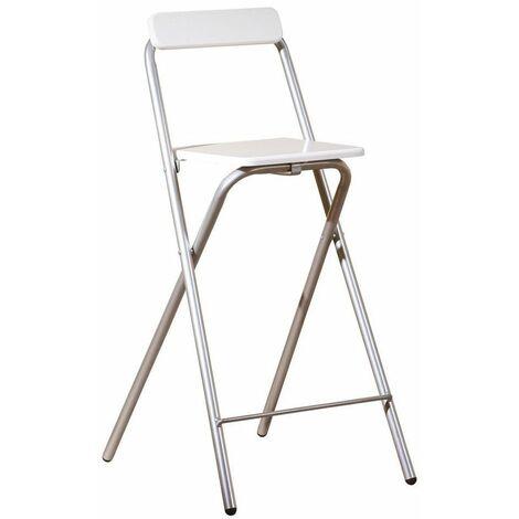 Tabouret de bar - Inet - Blanc - Chaise pour bar ou console haute - Livraison gratuite