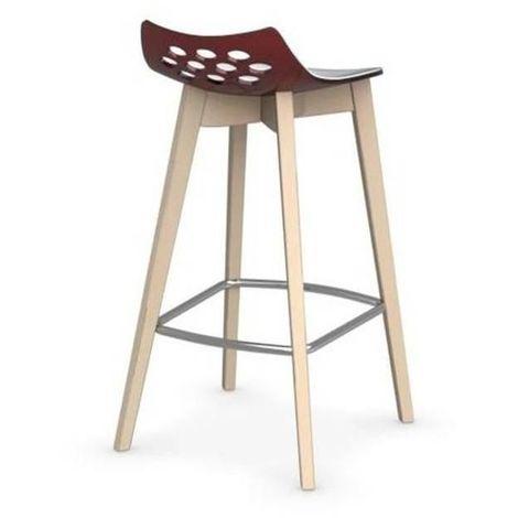 Tabouret de bar JAM W rouge transparente avec piétement en bois naturel
