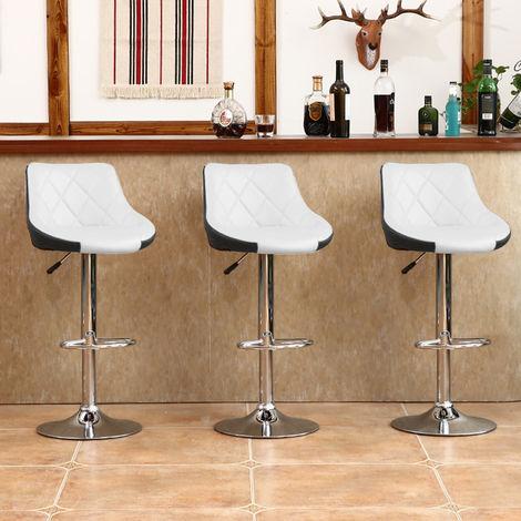 Tabouret de Bar Lot de 2 avec siège Bien rembourré,tabourets en Cuir Artificiel réglable -Blanc/Noir