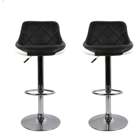 Tabouret de Bar Lot de 2 avec siège Bien rembourré,tabourets en Cuir Artificiel réglable -Noir/Blanc