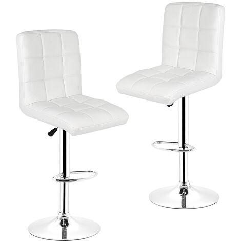 Tabouret de bar lot de 2 en similicuir avec siège bien rembourré, tabourets réglable,BLANC