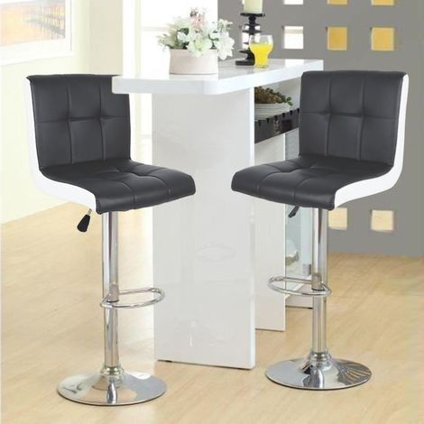 Tabouret de Bar Lot de 2 Noir/Blanc Chaise de Bar Hauteur Réglable Bien Rembourrage En Similicuir