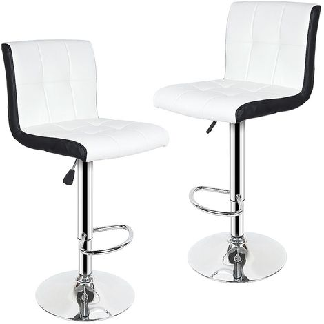 Tabouret de Bar Lot de 2 Noir + Blanc Chaise de Bar Hauteur Réglable Bien Rembourrage En Similicuir