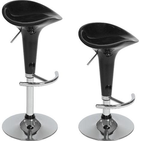 Lot de 2 Tabourets de Bar Design en Plastique Noir Pivotants et réglables en Hauteur 57 cm - 77 cm