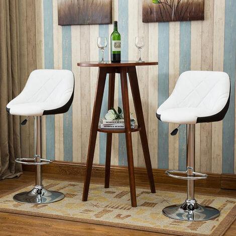 Tabouret de Bar Lot de 4 avec siège Bien rembourré,2 Design 2 Couleurs,tabourets en Simili-Cuir réglable,Blanc Noir