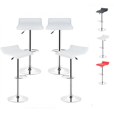 Tabouret de bar lot de 4 design en cuir simili et métal chromé,tabourets réglable,Blanc