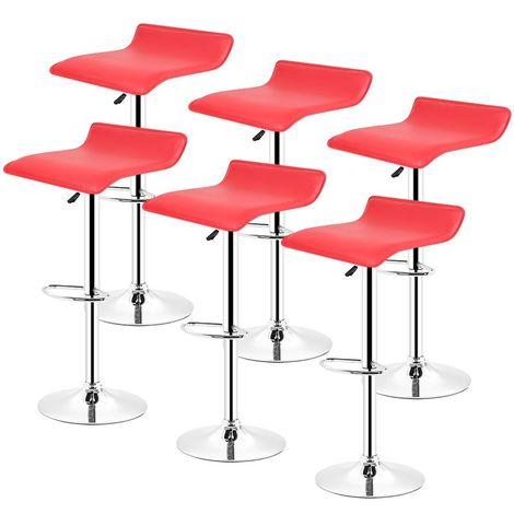 Tabouret de bar lot de 4 design en cuir simili et métal chromé,tabourets réglable,Rouge