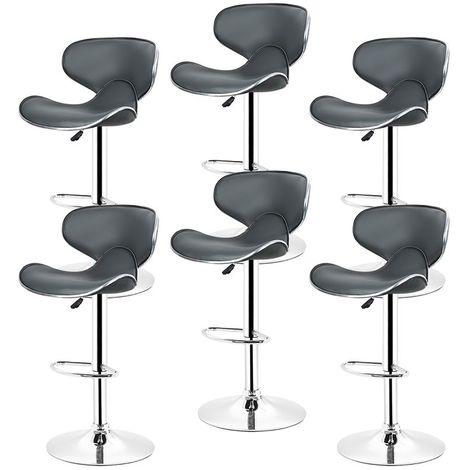 Tabouret de bar lot de 4 en similicuir avec siège bien rembourré, tabourets réglable