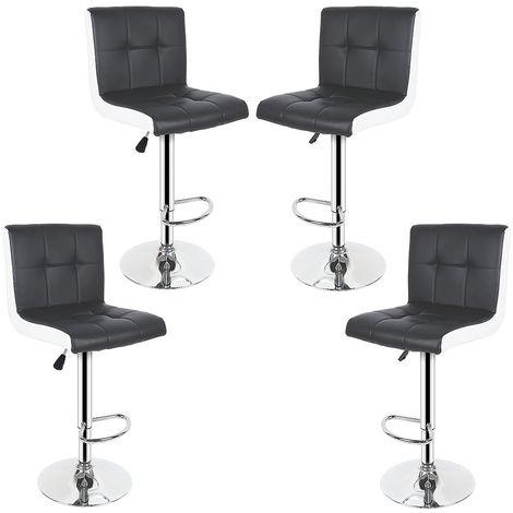 Tabouret de Bar Lot de 4 Noir/Blanc Chaise de Bar Hauteur Réglable Bien Rembourrage En Similicuir