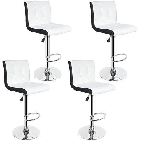 Tabouret de Bar Lot de 4 Noir + Blanc Chaise de Bar Hauteur Réglable Bien Rembourrage En Similicuir