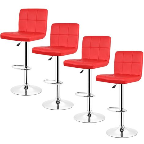Tabouret de bar lot de 4 , Tabouret de bar design,rouge