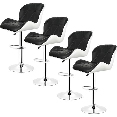 Tabouret de bar Lot de 4 Tabourets en Simili-Cuir réglable Noir-blanc Style contemporain