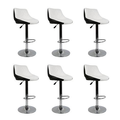 Tabouret de Bar Lot de 6 avec siège Bien rembourré,2 Design 2 Couleurs,tabourets en Simili-Cuir réglable,Blanc Noir