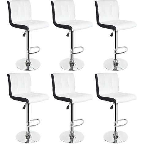 Tabouret de Bar Lot de 6 Noir + Blanc Chaise de Bar Hauteur Réglable Bien Rembourrage En Similicuir
