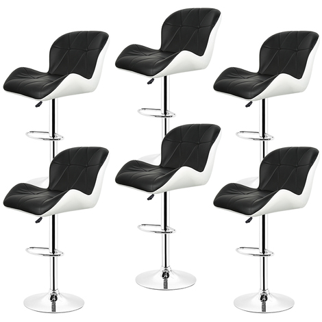 Tabouret de bar Lot de 6 Tabourets en Simili-Cuir réglable Noir-blanc Style contemporain