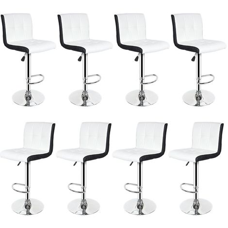 Tabouret de Bar Lot de 8 Noir + Blanc Chaise de Bar Hauteur Réglable Bien Rembourrage En Similicuir