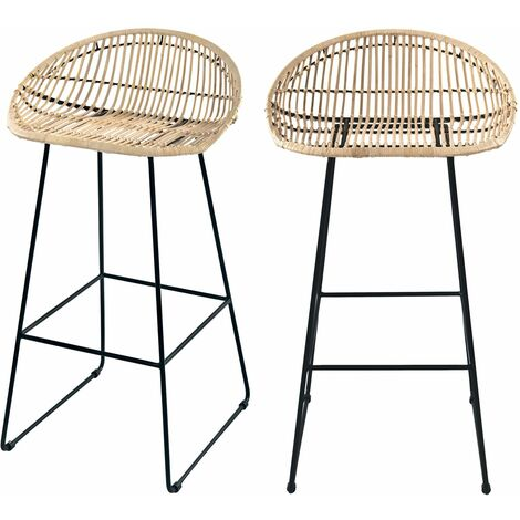 Tabouret de bar Lotus en rotin 77 cm (lot de 2)