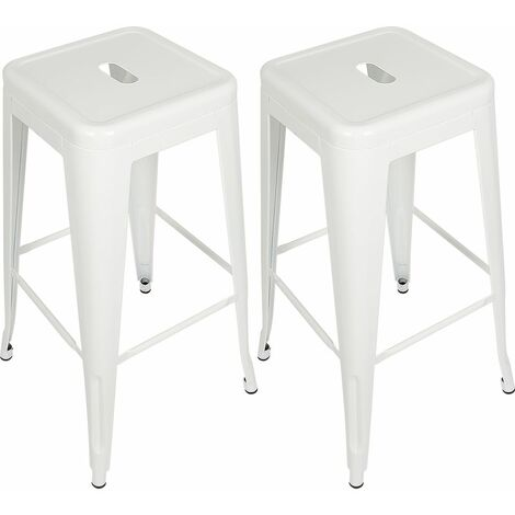 Tabouret de bar mi-hauteur Empilable 76*43*43 cm (lot de 2) - Blanc
