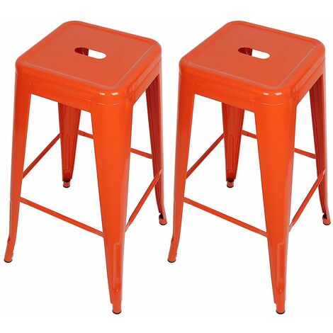 Tabouret de bar mi-hauteur Empilable 76*43*43 cm (lot de 2) - Rouge
