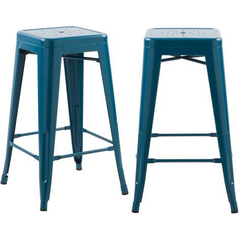 Tabouret de bar mi-hauteur Indus bleu mat 66cm (lot de 2) - Bleu