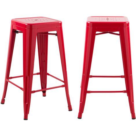 Tabouret de bar mi-hauteur Indus rouge brillant 66cm (lot de 2) - Rouge