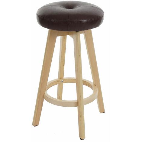 Tabouret de bar Navan, chaise de comptoir, bois, similicuir, rotatif
