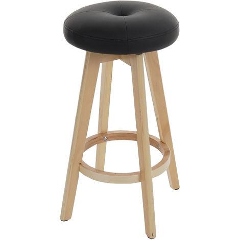 Tabouret de bar Navan, chaise de comptoir, bois, similicuir, rotatif ~ noir, pieds clairs