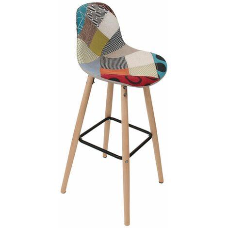 Tabouret de bar scandinave patchwork Riga - H. 92 cm - Beige - Beige
