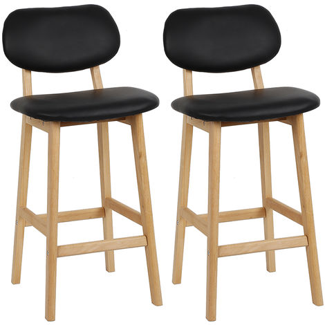 Tabouret de bar Tabouret de bar en bois avec dos Tabouret Tabouret de comptoir simili cuir noir