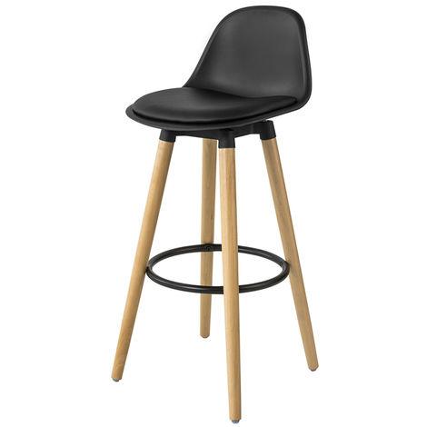Tabouret de Bar Tabouret Haut Cuisine avec dossier et repose-pieds tabouret bois haute qualité,SoBuy® FST70-SCH