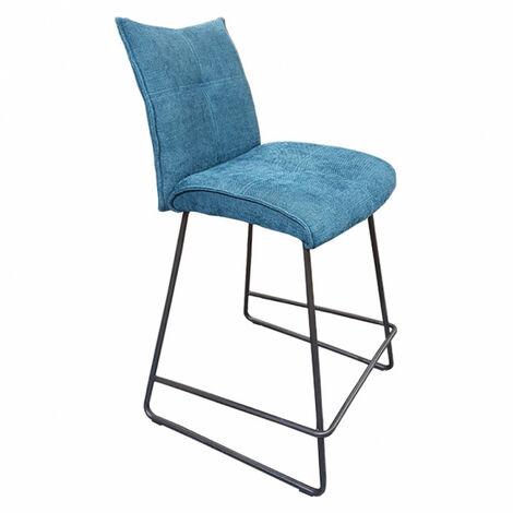 Tabouret de bar tissu bleu - LUCKY - Bleu
