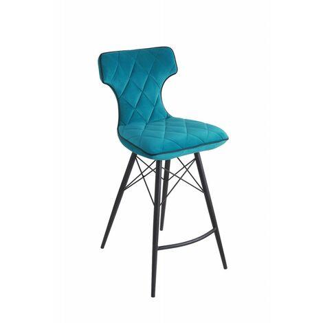 Tabouret de bar velours bleu - Cocktail - bleu