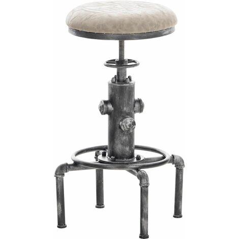 Tabouret de bar vintage style industriel hauteur réglable similicuir gris et métal argenté - gris