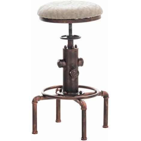 Tabouret de bar vintage style industriel hauteur réglable similicuir gris et métal bronze - gris