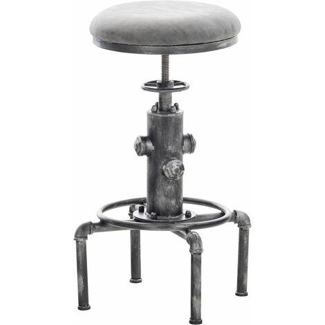 Tabouret de bar vintage style industriel hauteur réglable similicuir gris foncé et métal argenté - gris