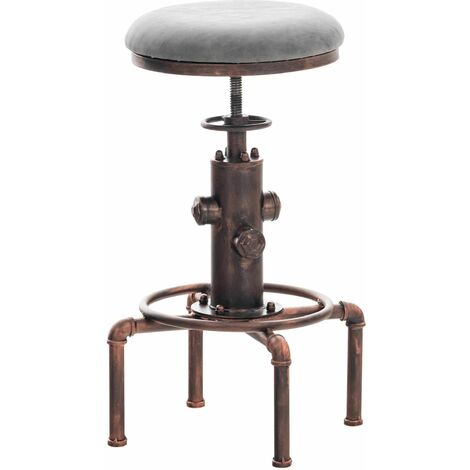 Tabouret de bar vintage style industriel hauteur réglable similicuir gris foncé et métal bronze - gris