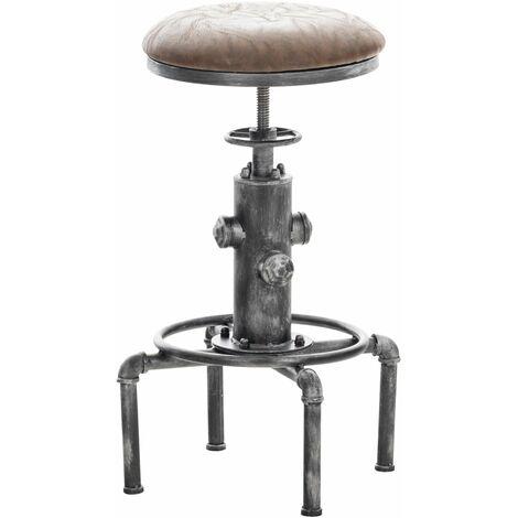 Tabouret de bar vintage style industriel hauteur réglable similicuir marron et métal argenté - marron