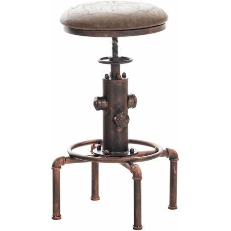 Tabouret de bar vintage style industriel hauteur réglable similicuir marron et métal bronze - marron