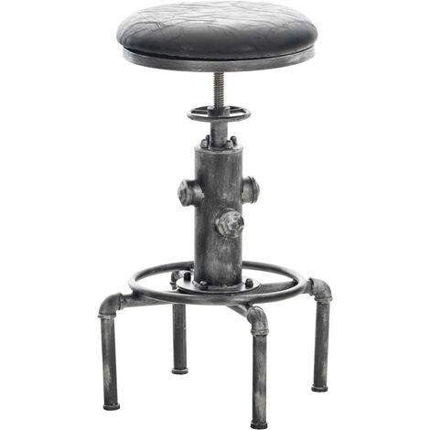 Tabouret de bar vintage style industriel hauteur réglable similicuir noir et métal argenté - noir