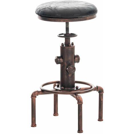 Tabouret de bar vintage style industriel hauteur réglable similicuir noir et métal bronze - noir