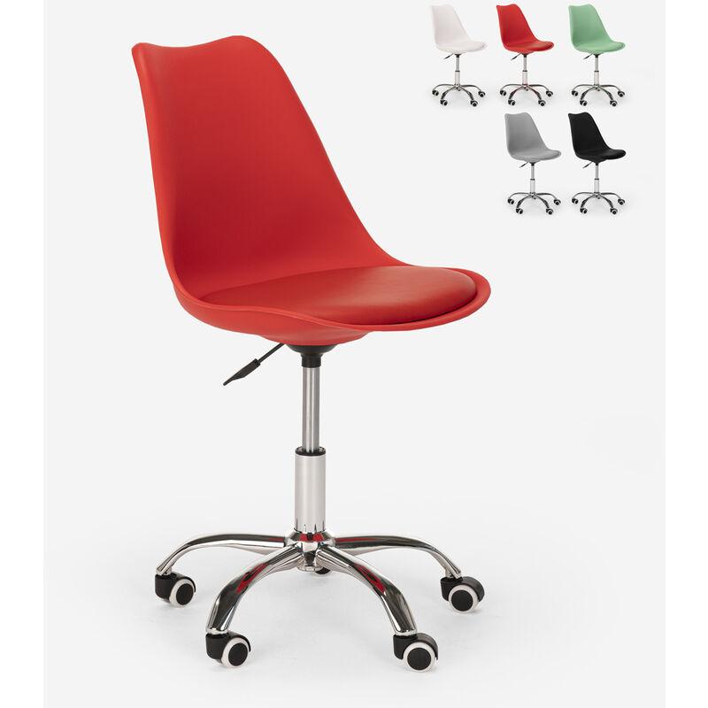 Tabouret de bureau design pivotant réglables en hauteur avec roues Octony   Rouge