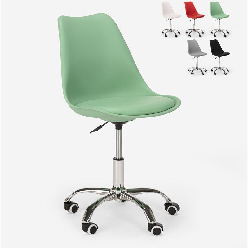 Tabouret de bureau design pivotant réglables en hauteur avec roues Octony   Vert foncé