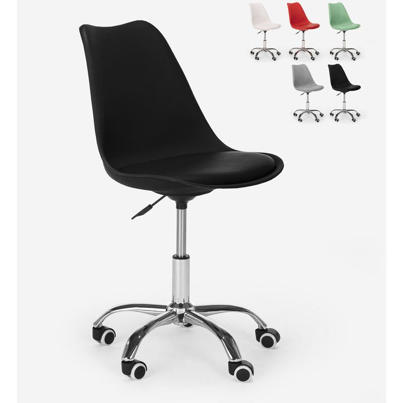 Tabouret de bureau design pivotant réglables en hauteur avec roues Octony | Noir
