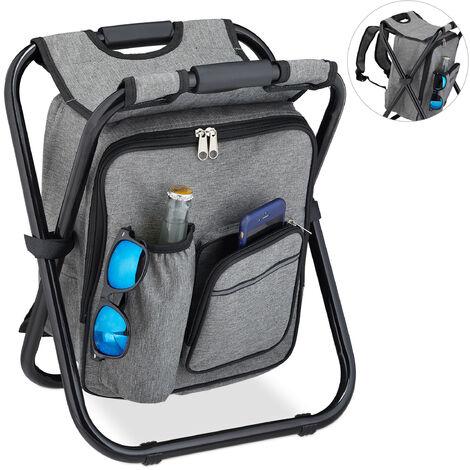 Tabouret de camping avec sac, pliant, transportable, léger & solide, à porter, Polyester, 43 x 35 x 29, gris