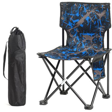 Tabouret De Chaise De Peche Pliable, Pour Le Camping En Plein Air, Camouflage Bleu