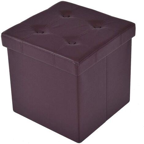 Tabouret De Cube Pouf Pliable Banc Coffre Rangement Boîte De