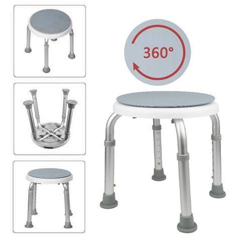 Tabouret De Douche Ergonomique Chaise De Bain Réglable Hauteur En Aluminium