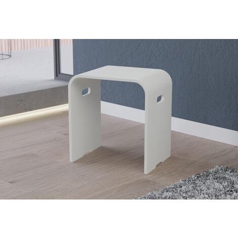Tabouret de douche PB4002 en fonte minérale - blanc mat -