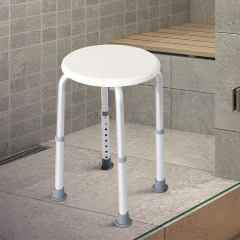 Tabouret de Douche Rond Réglable en Hauteur 332*32*36-54cm en Aluminium Blanc